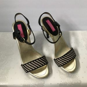 Isaac Mizrahi Black Gold High Heel Sandals Sz 7.5